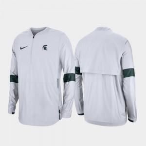 Spartans Quarter-Zip 2019 Coaches Sideline White College Jacket For Men's