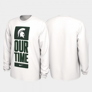 College T-Shirt White Our Time Bench Legend MSU 2020 March Madness For Men