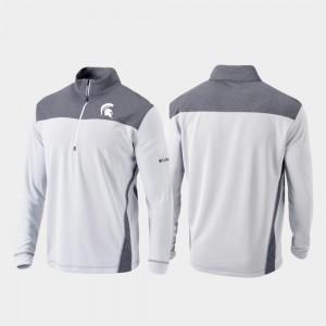 College Jacket Michigan State Spartans Quarter-Zip Pullover Omni-Wick Standard Mens White