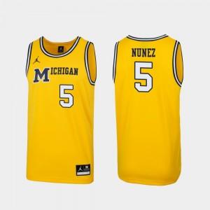1989 Throwback Basketball Michigan #5 Replica Maize Adrien Nunez College Jersey Mens