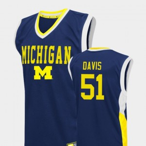 Fadeaway Austin Davis College Jersey Men's Basketball Blue Michigan #51
