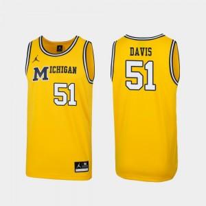 Austin Davis College Jersey #51 Replica Michigan Wolverines Men Maize 1989 Throwback Basketball