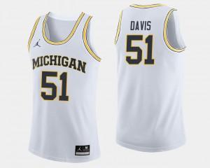 Men's Austin Davis College Jersey University of Michigan #51 Basketball White