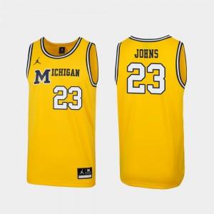 Maize Men Michigan #23 Brandon Johns Jr. College Jersey Replica 1989 Throwback Basketball