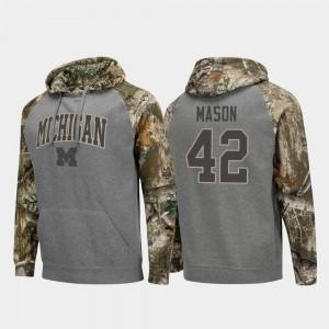 #42 For Men's Realtree Camo Ben Mason College Hoodie Charcoal University of Michigan Raglan Football