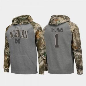 Charcoal Men's Michigan Wolverines Realtree Camo #1 Raglan Football Ambry Thomas College Hoodie