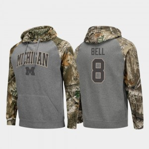For Men's #8 Wolverines Raglan Football Charcoal Ronnie Bell College Hoodie Realtree Camo
