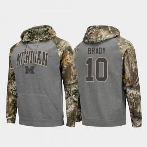 Charcoal Realtree Camo Raglan Football #10 U of M Tom Brady College Hoodie For Men