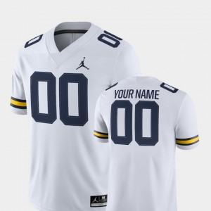 White 2018 Game College Customized Jerseys Mens Michigan #00 Football