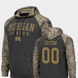 Wolverines College Customized Hoodies #00 United We Stand Charcoal Colosseum Football For Men's