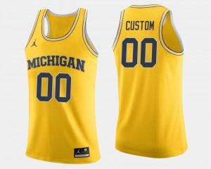 College Custom Jersey Basketball U of M Maize #00 Mens