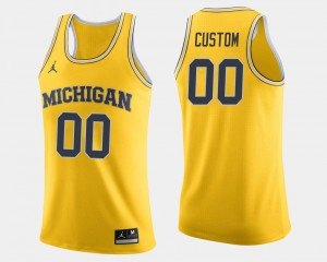 Wolverines College Custom Jerseys #00 Maize For Men's Basketball