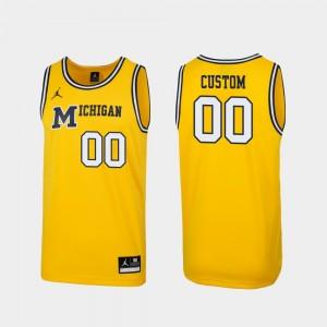 University of Michigan Men's #00 1989 Throwback Basketball College Customized Jersey Replica Maize
