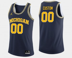 College Customized Jerseys For Men's #00 Wolverines Navy Basketball