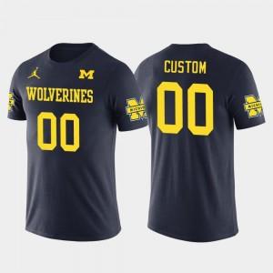 Michigan Navy Mens College Custom T-Shirts Future Stars Cotton Football #00