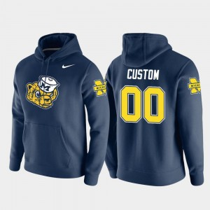 For Men's Michigan Wolverines Vault Logo Club #00 Pullover College Customized Hoodie Navy