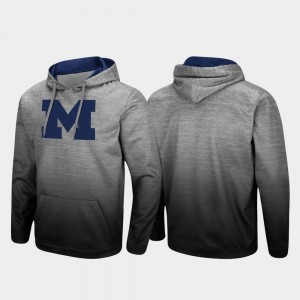 For Men's College Hoodie Pullover Sitwell Sublimated Heathered Gray Michigan