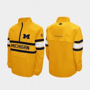 College Jacket Maize Men's Alpha Windshell Pullover University of Michigan Quarter-Zip