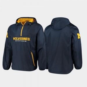 College Jacket Mens U of M Half-Zip Navy Base Runner