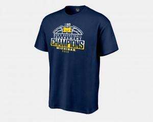 2018 Big Ten Champions Locker Room Basketball Conference Tournament Navy Men College T-Shirt Michigan