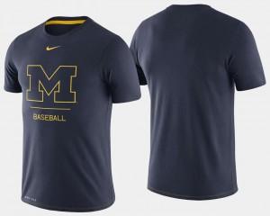 College T-Shirt Baseball Dugout Performance Navy Michigan Mens