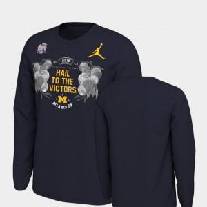 Michigan Verbiage Long Sleeve Navy College T-Shirt 2018 Peach Bowl Bound Men