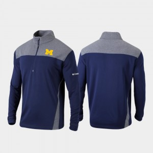 Navy Omni-Wick Standard Quarter-Zip Pullover For Men's College Jacket Michigan Wolverines