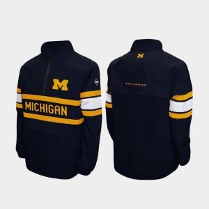 U of M Navy Quarter-Zip Men Alpha Windshell Pullover College Jacket