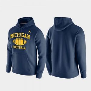 College Hoodie Club Fleece Michigan Wolverines Retro Football For Men's Navy