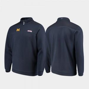 Navy Shep Shirt Michigan Wolverines College Jacket Mens Quarter-Zip