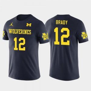 Tom Brady College T-Shirt #12 Future Stars New England Patriots Football Navy Wolverines Mens