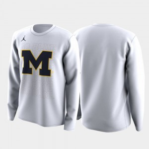 Mens March Madness Legend Basketball Long Sleeve Family on Court White Michigan Wolverines College T-Shirt