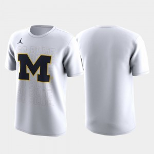 Family on Court March Madness Legend Basketball Performance Mens College T-Shirt White University of Michigan