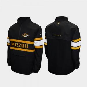 Quarter-Zip Alpha Windshell Pullover Black Missouri Tigers College Jacket For Men's