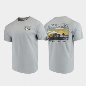 College T-Shirt Comfort Colors Missouri Tigers Campus Scenery Men's Gray