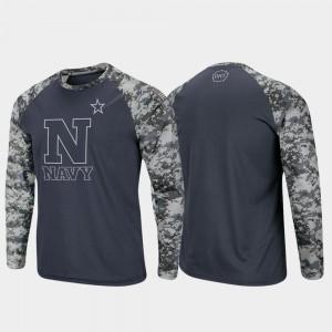 Charcoal Camo Men Midshipmen College T-Shirt OHT Military Appreciation Raglan Long Sleeve Digi Camo