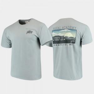 Midshipmen Comfort Colors College T-Shirt Campus Scenery Gray Men's