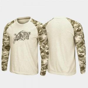 Oatmeal Raglan Long Sleeve Desert Camo For Men College T-Shirt Navy OHT Military Appreciation