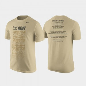Cotton Tan For Men's Military Creed College T-Shirt Midshipmen