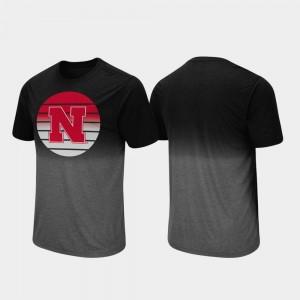 Fancy Walking Black College T-Shirt Men's Nebraska Cornhuskers Dip Dye