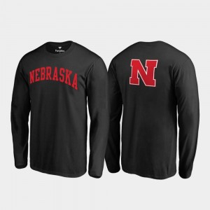 Long Sleeve Primetime Black Nebraska Cornhuskers College T-Shirt For Men's