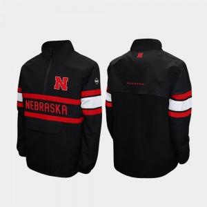 Black Quarter-Zip University of Nebraska Men College Jacket Alpha Windshell Pullover