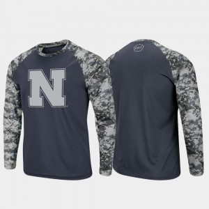 Men OHT Military Appreciation College T-Shirt Charcoal Camo Raglan Long Sleeve Digi Camo Nebraska Cornhuskers