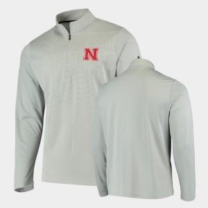 Gray UPF College Jacket For Men Quarter-Zip Cornhuskers