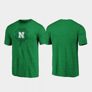 Green Nebraska Cornhuskers St. Patrick's Day Men College T-Shirt Celtic Charm Tri-Blend