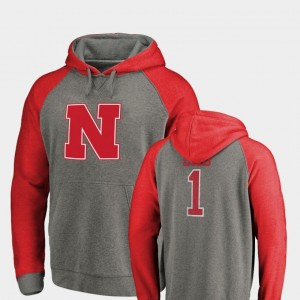 College Hoodie Heathered Greatest Dad Nebraska Cornhuskers Raglan Tri-Blend Big & Tall For Men's