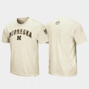Men Nebraska College T-Shirt Desert Camo OHT Military Appreciation Oatmeal