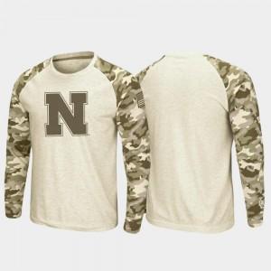 Cornhuskers College T-Shirt Men Oatmeal Raglan Long Sleeve Desert Camo OHT Military Appreciation
