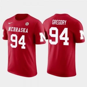 #94 Future Stars Red Randy Gregory College T-Shirt For Men University of Nebraska Dallas Cowboys Football