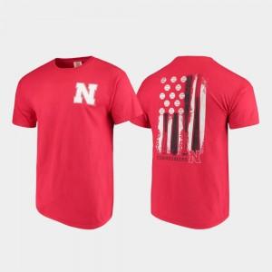 For Men's College T-Shirt University of Nebraska Baseball Flag Comfort Colors Scarlet